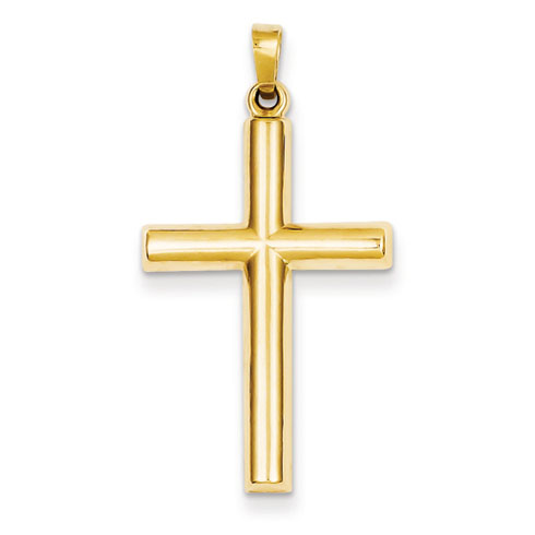 14kt Yellow Gold 1in Hollow Latin Cross