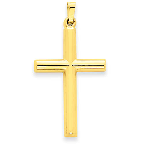 14kt Yellow Gold 1 1/8in Hollow Latin Cross Pendant