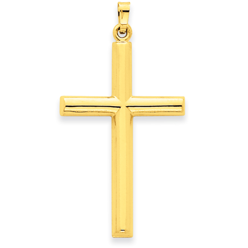 14kt Yellow Gold 1 3/8in Hollow Latin Cross