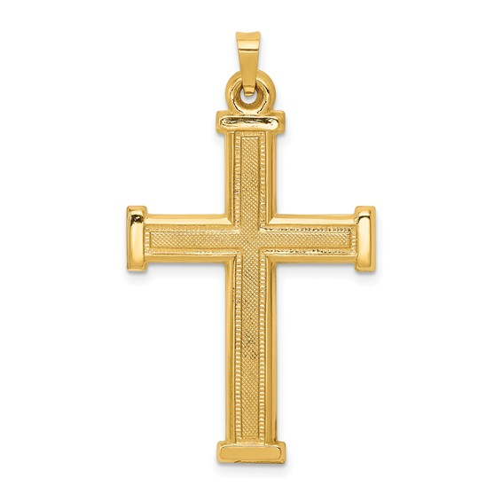 14k Yellow Gold 1 1/4in Hollow Latin Cross Pendant