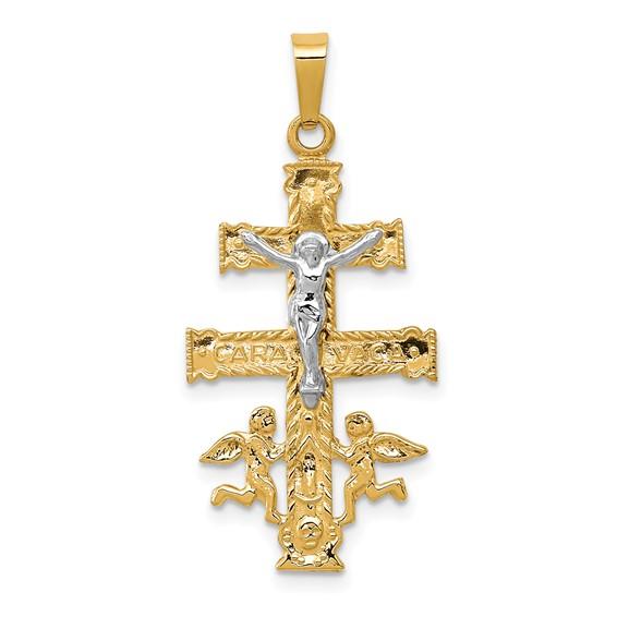 14kt Two-tone 1in Cara Vaca Crucifix Pendant