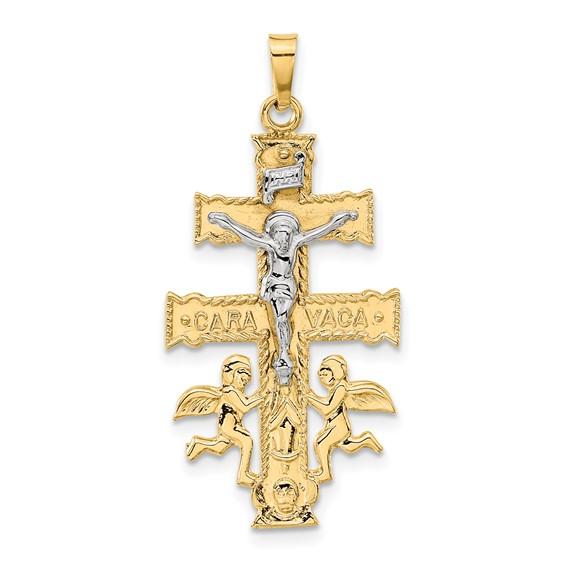 14kt Two-tone 1 3/16in Cara Vaca Crucifix Pendant
