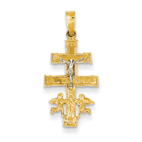 14kt Two-tone 3/4in Cara Vaca Crucifix Pendant