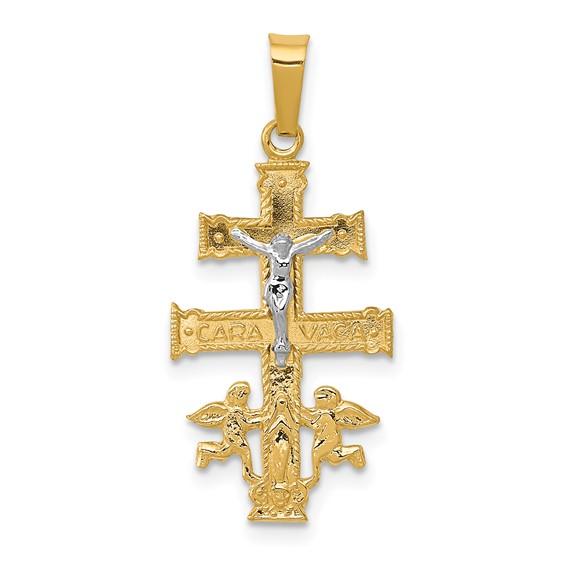 14kt Two-tone 3/4in Cara Vaca Crucifix Pendant