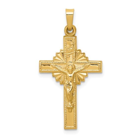 14k Yellow Gold INRI Hollow Crucifix Pendant with Sunburst Design 1in