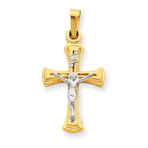 14kt Two-tone 3/4in INRI Hollow Crucifix Pendant