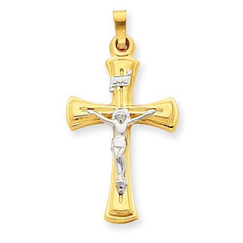 14kt Two-tone Gold 1in INRI Hollow Tapered Crucifix Pendant
