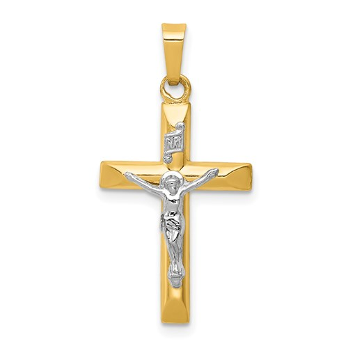 14kt Two-tone Gold 3/4in INRI Hollow Beveled Crucifix Pendant