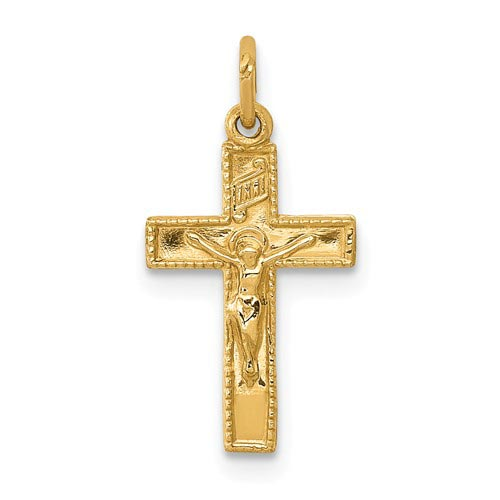14kt Yellow Gold 1/2in INRI Crucifix Charm