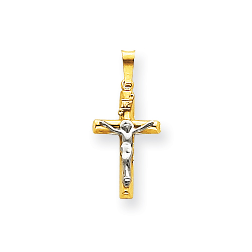 14kt Two-tone Gold 11/16in INRI Hollow Crucifix Pendant