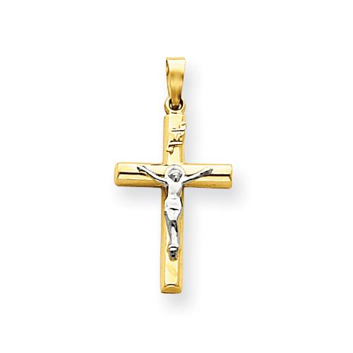 14kt Two-tone Gold 13/16in Hollow INRI Crucifix