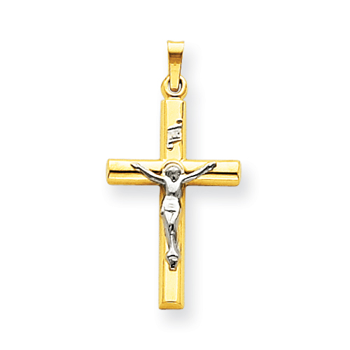 14k Two-tone Gold 1in INRI Hollow Crucifix with Flat Back
