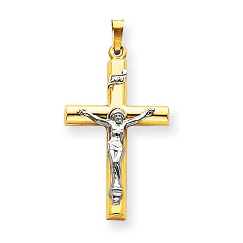 14kt Two-tone Gold 1 3/16in INRI Hollow Crucifix