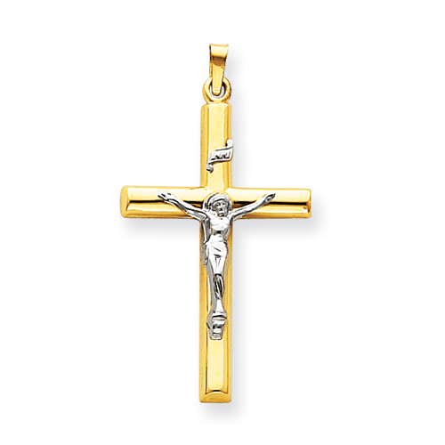 14kt Two-tone Gold 1 1/2in INRI Hollow Crucifix Pendant