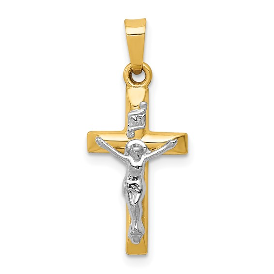 14kt Two-tone Gold 3/4in INRI Hollow Crucifix Pendant