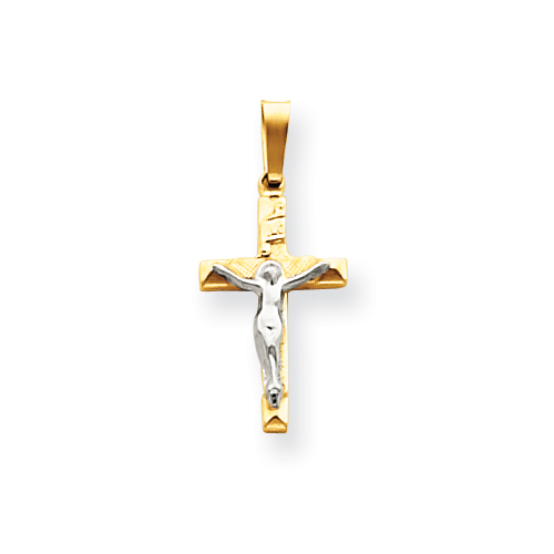 14k Two-tone Gold INRI Hollow Crucifix Pendant 11/16in