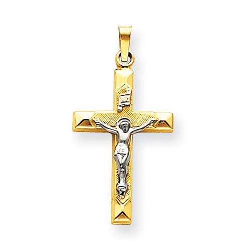 14kt Two-tone 1in INRI Hollow Crucifix Pendant