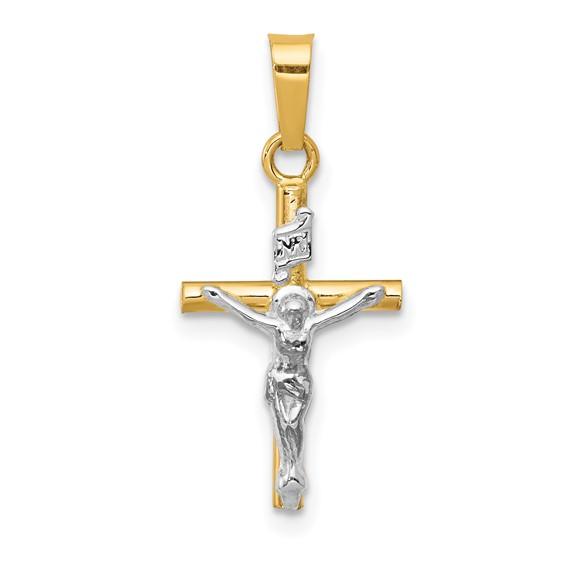 14k Two-tone Gold 5/8in INRI Hollow Crucifix Pendant