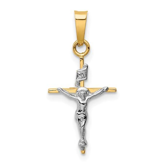 14kt Two-tone Gold 5/8in INRI Crucifix