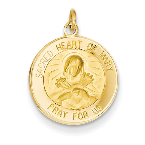 14kt 9/16in Sacred Heart of Mary Medal Charm
