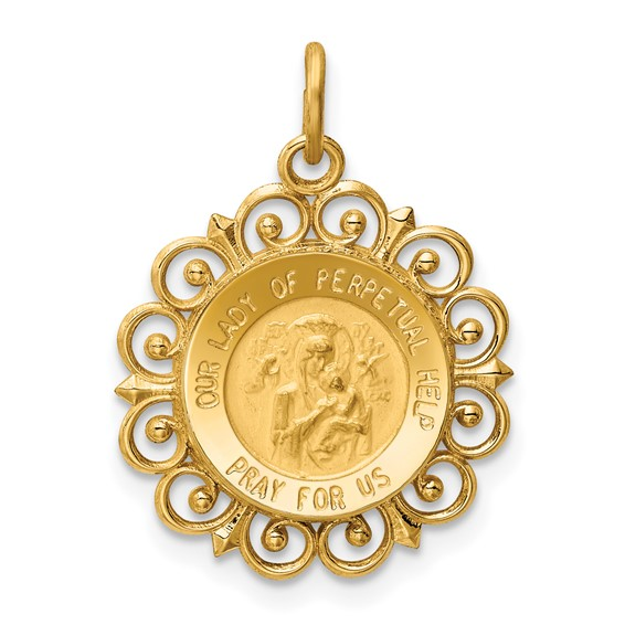 14k Yellow Gold Our Lady of Perpetual Help Medal 3/4in
