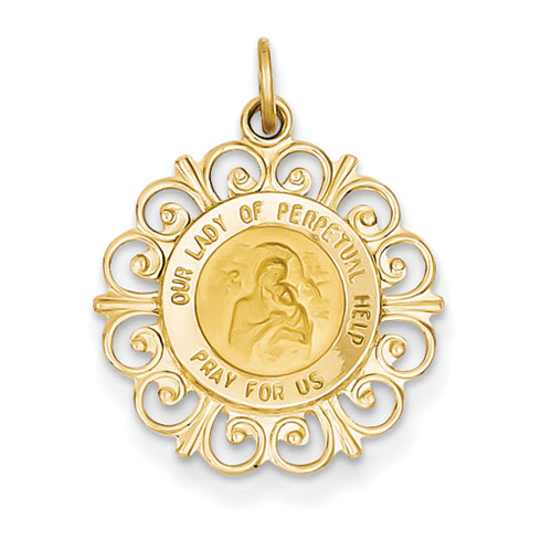 14kt 3/4in Our Lady of Perpetual Help Medal Charm