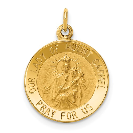 14k Yellow Gold 1/2in Our Lady of Mount Carmel Medal Charm