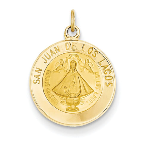 14kt 9/16in Our Lady of San Juan Medal Charm