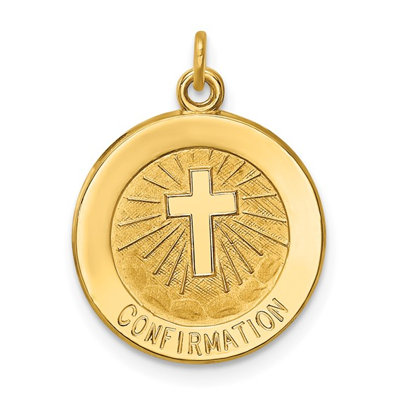 14kt 9/16in Confirmation Medal Charm