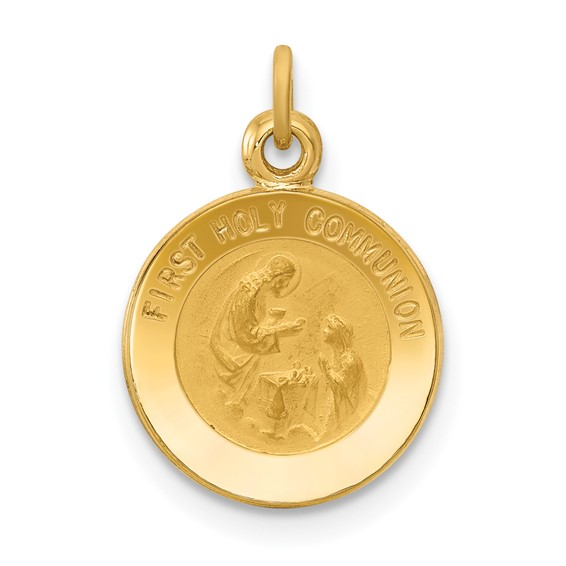 14kt Yellow Gold 7/16in First Communion Medal Charm