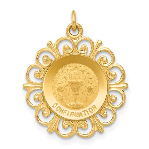 14k Yellow Gold 3/4in Confirmation Medal Charm
