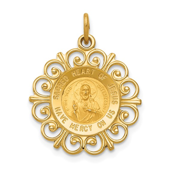 14kt Yellow Gold 3/4in Fancy Sacred Heart of Jesus Medal