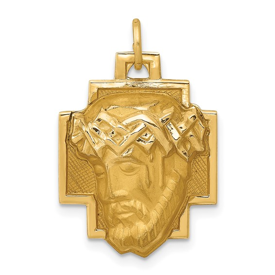 14k Yellow Gold Jesus Pendant with Crown of Thorns 3/4in