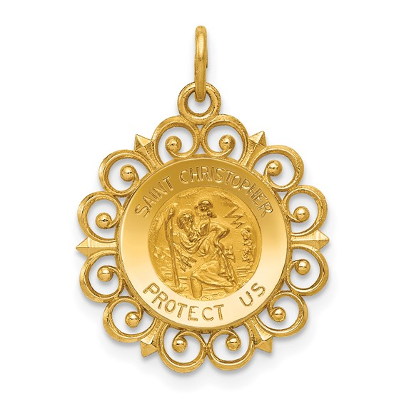 14k 3/4in Saint Christopher Medal Charm