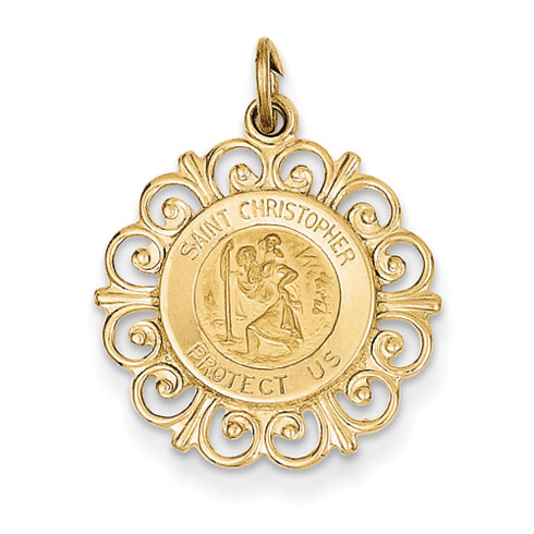 14k Yellow Gold 3/4in Saint Christopher Medal Charm