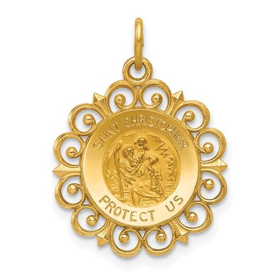 14k 3/4in Saint Christopher Medal Charm