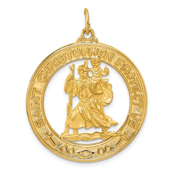 14kt Yellow Gold 1 1/8in Saint Christopher Medal Pendant
