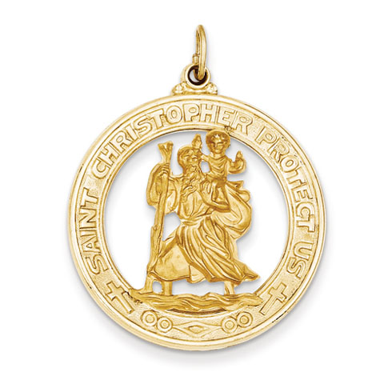 14k Yellow Gold 1 1/8in Saint Christopher Medal Pendant