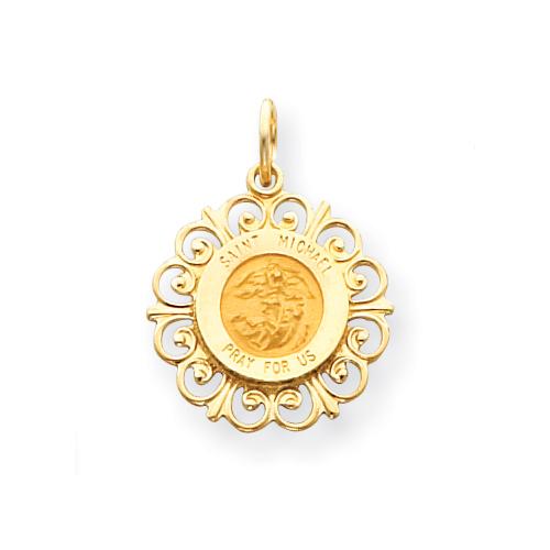 14k 3/4in Saint Michael Medal Charm