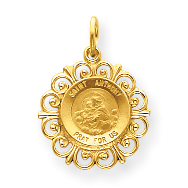 14k Yellow Gold 3/4in Fancy Saint Anthony Medal Charm