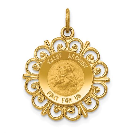 14k 3/4in Saint Anthony Medal Charm