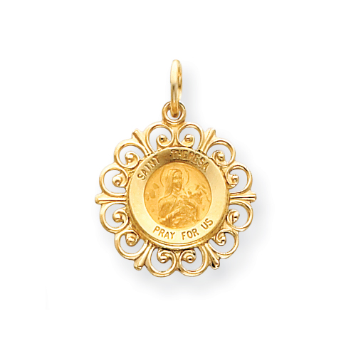 14kt Yellow Gold 3/4in Saint Theresa Medal