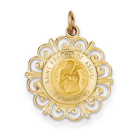 14k Yellow Gold 3/4in St Francis of Assisi Pendant with Scroll Border