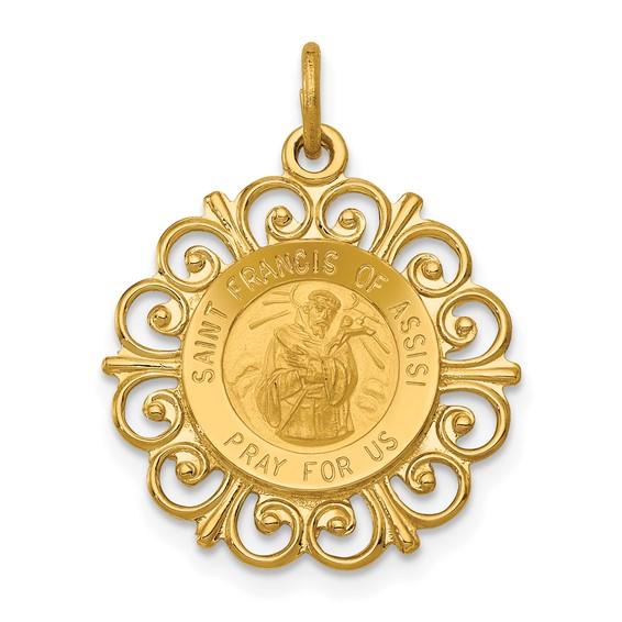 14k 3/4in Saint Francis of Assisi Medal Pendant