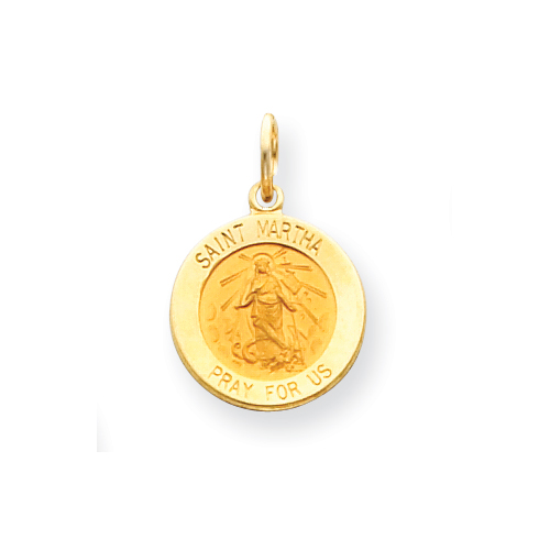 14kt Yellow Gold 9/16in Saint Martha Medal Charm