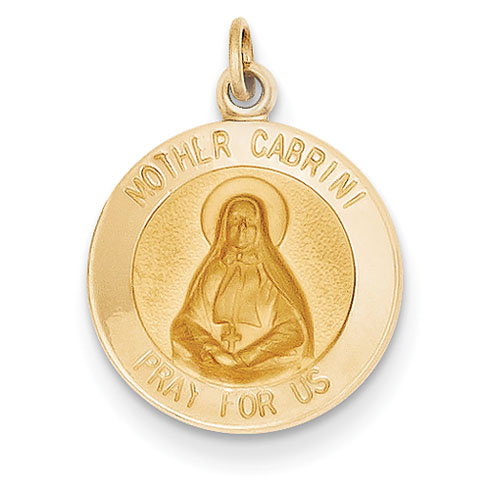14kt Yellow Gold 15mm Mother Cabrini Medal Charm
