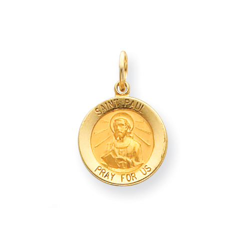14k 9/16in Saint Paul Medal Charm