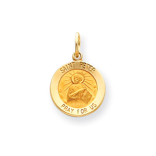 14k 9/16in Saint Peter Medal Charm