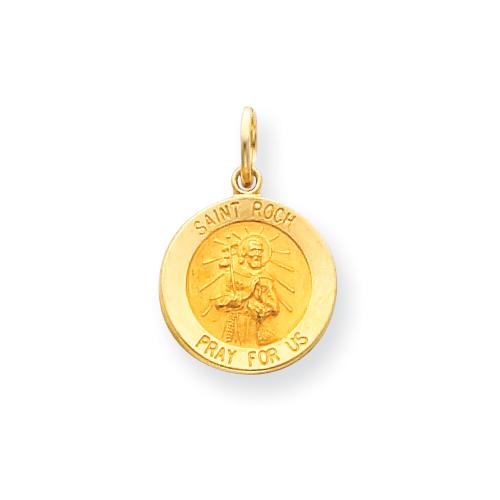 14k 9/16in Saint Roch Medal Charm