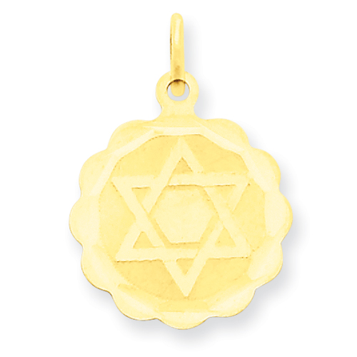 14k Solid 5/8in Star of David Disc Charm